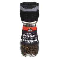 Black peppercorns with built in grinder.Grinds 3 different sizes.