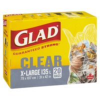 Guaranteed strong. Clear X Large. 79 x 107 cm. 31 x 42 in. 20 bags.