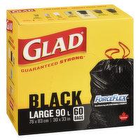 Glad - ForceFlex Black Garbage Bags - Large, 60 Each