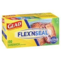 Glad - Flex N Seal Sandwich Zipper Bags, 100 Each