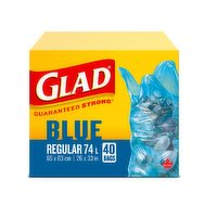 Guaranteed strong. Blue regular 74L. 40 bags. 65x83cm. 26x33in.