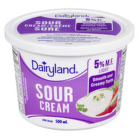 60% Less Fat Than Dairyland 14% Sour Cream. With its delicious, tangy taste, Dairyland Sour Cream adds a creamy kick to your entrees, sauces and dips.