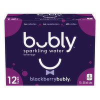 Includes 12 cans of bubly sparkling water. A refreshing, crisp sparkling water with great tasting, natural flavours. No calories. No sweeteners. All smiles.