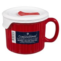 Use this mug for tomato soup, chilli and much more. The Pop-Ins vented lid allows steam to escape, keeping your microwave clean and you safe from steam burns.      4.5 IN x 3.5 IN - 12oz