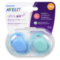 Featuring 4 extra-large air holes, the lightweight shield is designed for maximum air flow so your baby's sensitive skin stays drier while soothing. Includes a carrying case.  2 pacifiers.