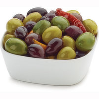 Assorted olives, packaged fresh. Choose from Average Weight per Container: Small - 250g, Med - 400g, Large - 625g.