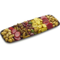 48 hour Prep Time Required for Party Platters. Limit 10 Per Order. Assortment of Green Sicilian Olives, Greek Kalamata Olives, Beets, Asparagus and Sweet Bread & Butter Pickles.