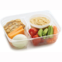 Hearty and Wholesome Combinations of Protein Packed and Freshly Made in Store. Strips of Chicken Breast, Slices of Chedder Cheese, Boiled Egg, Variety Mix of Veggies with Hummus Dip.