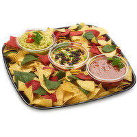 48 hour Prep Time Required for Party Platters. Limit 10 Per Order. Seven Layer Dip, Salsa, Guacamole & Asst Corn Tortilla Chips with Serrano/Habanero Peppers & Fresh Lime Wedges.