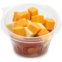 Pepperoni Chunks, Cube Cheese - combination of cheddar and soft.