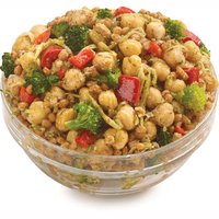 Packaged Fresh. Choose from Average Weight per Container: Small - 250g, Med - 400g, Large - 625g. Blend of Chickpeas, Wheat Berries, Broccoli, Red Bell Peppers, Red Onion and Garlic Sauce.