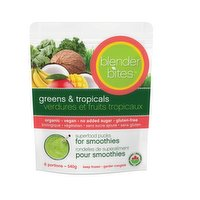 Superfood pucks for smoothies. No sugar or stevia added and contains 7 greens. Each serving comes in a pre-portioned frozen pucks with no need for inner plastic packaging.6 servings per bag. Non-gmo, vegan, gluten free and organic.