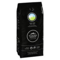 Fair Trade. Orgainc. Kick Ass + Decaf = Half the Caffeine. Dark Roast.