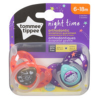 All night time orthodontic Tommee Tippee pacifiers use the same nipple to ensure easy transition between pacifiers. The night time pacifiers are easy to find at night as they glow in the dark.