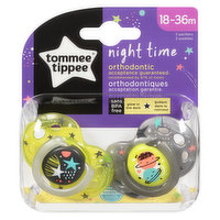 Glow in the dark pacifiers ideal for using at night time. Symmetrical orthodontic shape designed to support natural oral development. Proven to help your baby to sleep. BPA free. 2 pack.