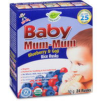 Baby Mum-Mum is the original rice teething biscuit brand, parent trusted for over 25 years. All natural, with no gluten or dairy, also free of the most common allergens. 24 rusks= 50g.