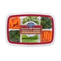 Mann's veggies and hummus fresh vegetables tray featuring sabra classic hummus is a great healthy snack that contains; carrots, beans, broccoli & celery. 383g of Veggies + 85g Dip = 468g.