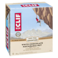 6-68g White Chocolate Macadamia Nut Flavour Energy Bars. 70% Organic Ingredients.
