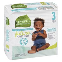 Will help keep your baby's sensitive skin protected and dry. The ultra absorbent core in Seventh Generation diapers, made with sustainably-sourced fluff and 0% chlorine bleaching, helps prevent leaks. Size 3 (10-21lbs or 7-9kg)