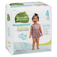 Will help keep your baby's sensitive skin protected and dry. The ultra absorbent core in Seventh Generation diapers, made with sustainably-sourced fluff and 0% chlorine bleaching, helps prevent leaks. Size 4 (20-32lbs or 9-15kg)