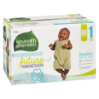 Seventh Generation - Diapers Medium Stage 1, 80 Each