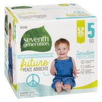 Will help keep your baby's sensitive skin protected and dry. The ultra absorbent core in Seventh Generation diapers, made with sustainably-sourced fluff and 0% chlorine bleaching, helps prevent leaks. Size 5 (27-35lbs or 12-16kg)