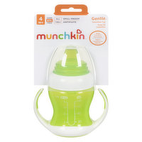 Starter cup that helps move away from bottles, has a soft & flexible silicone spout that is gentle on baby's gums. Removable handles are soft to hold, comes with lid to cover spout. BPA free. 4oz.