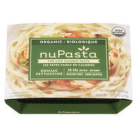NuPasta is a low calorie & gluten free pasta. The texture is chewy, similar to al dente pasta (firm to bite). Gluten free and organic. Pre-cooked. Do not Freeze.