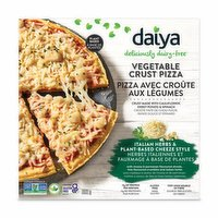 Italian Herbs & Cheeze Style made with mozza & parmesan flavoured shreds, feta flavoured crumbles and italian herbs. Plant based, deliciously dairy free vegetable crust pizza. Crust made with cauliflower, sweet potatoe & spinach. High source o
