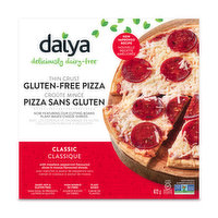 Deliciously free of dairy, soy and cholesterol. Meatless pepperoni flavoured slices. Gluten free!