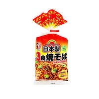Authentic Japanese yakisoba stir-fried noodle. Each packet contains 3 servings of fresh noodle with yakisoba sauce. Fast, easy and tasty! Product of Japan.  Itsuki Food since 1878. <br />