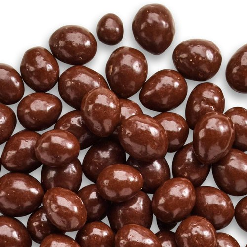 Whole almonds coated in smooth dark chocolate.