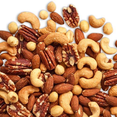 A rich blend of roasted & salted almonds, cashews, pecans, hazelnuts & brazil nuts.