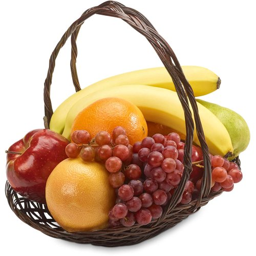 48 Hr Prep Time Required. An assortment of fresh fruit beautifully arranged in a wicker basket wrapped with cellophane and a bow.