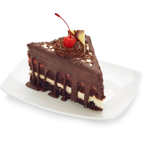 A moist chocolate layered cake with a cherry filling.