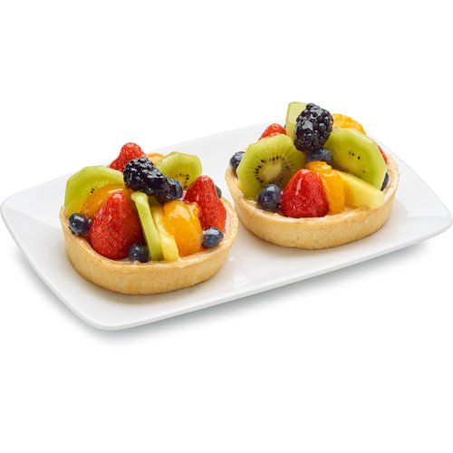 A buttery flan base filled with swiss cream and topped with abundance of seasonal fruits and berries. 4in Tart.