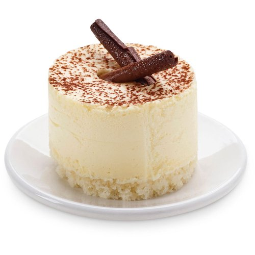 A classic 2in Tiramisu  light and fluffy. Made with real mascarpone cheese and a coffee liqueur-soaked lady finger interior topped with cocoa powder.