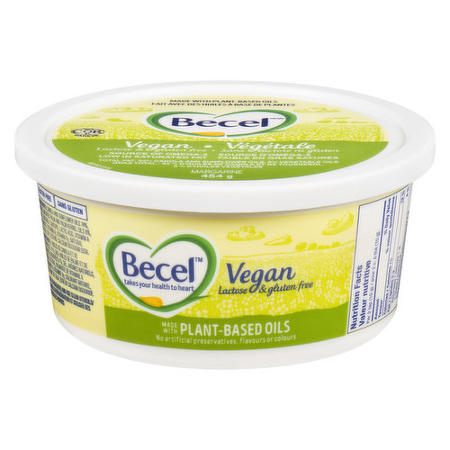 A healthy diet low in saturated and trans fats may reduce the risk of heart disease. Becel is low in saturated fat and has no trans fat. No artificial preservatives, flavours or colours. Made with plant-based oils.