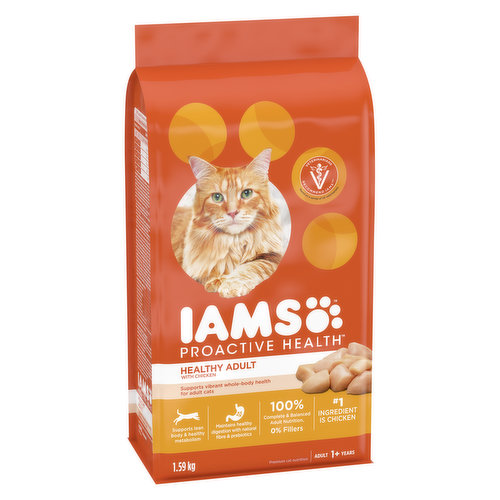 1st Ingredient is Chicken. This cat food has PreBiotics that work inside the digestive tract to promote healthy digestion and strong defenses.