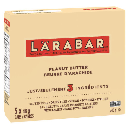 Fruit & Nut energy bars. Gluten Free, Dairy Free, Soy Free, Vegan, Kosher. 5x48g Bars