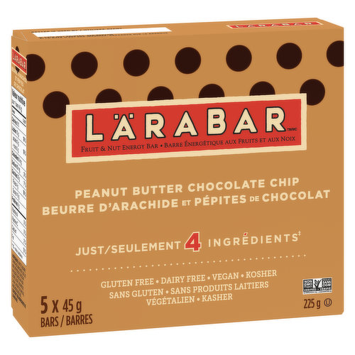 Our Peanut Butter Chocolate Chip bar isn't just a tasty morsel of chocolatey goodness, it also contains 6g of protein, gluten free, dairy free, vegan and kosher free. 5x45g