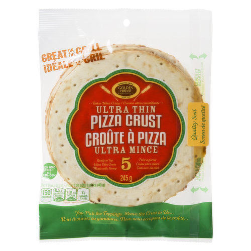 5 Ready to top ultra crispy and ultra thin pizza crusts. 7 inches.