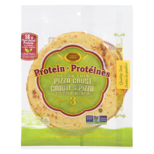 Golden Home Bakery Ultra Thin Pizza Crust is the key to creating a quick and easy pizza to match your health goals without compromising taste. Golden Home pizza crust delivers 16 grams of protein and only 8 grams net carbs. Simply top off with cooked prot