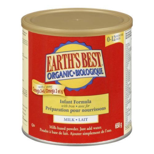 For infants 0-12 months. With added iron & omega 3 + 6. Milk-based powder formula. Just add water. Kosher.