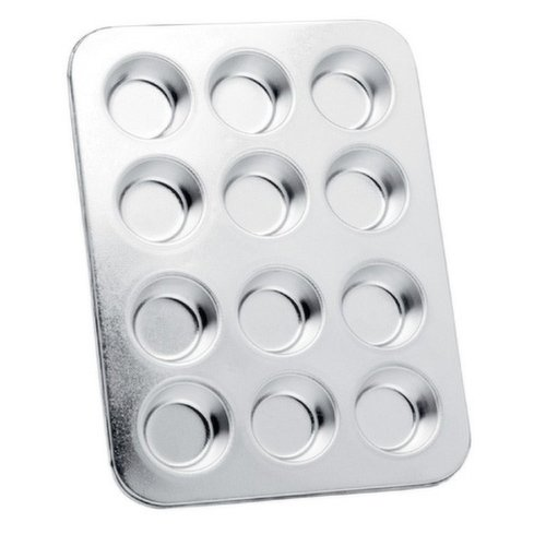 """Makes 12 mini muffins. Each cup measures, Top-1.75""""/4.5cm,  Bottom-1.25""""/3cm, Depth-.75""""/2cm. Made of heavy duty tin. Also use to make cupcakes and hors d' oeuvres."""