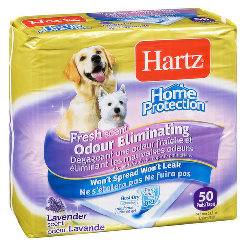 Home Protection.Won't Spread Won't Leak. Flash Dry Technology Turns Liquid Gel. 50 pads 53.3cm x 53.3cn.