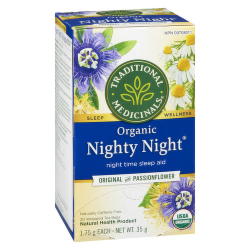 Night Time Sleep Aid. Made with Medicinal Grade Passionflower & Hops. Fair Trade. Non GMO.
