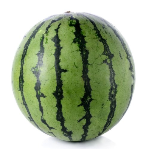 Mini watermelons range in size but are generally similar to a large cantaloupe. A sweet, refreshing snack due to their watery texture
