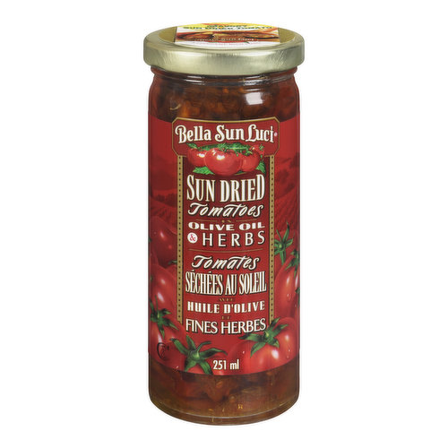 Sun Dried Tomatoes in Olive Oil and Herbs. Great for Salads, Pizzas and as Garnish.