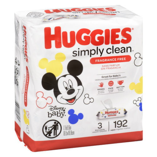 The only wipes with TripleClean layers. Simply Clean Fresh Wipes are great for hands, faces and bottoms. Because kids outgrow diapers, not messes. 3 packs with 64 wipes each= 192